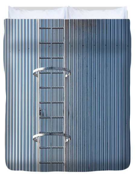 Silver Blue Silo With Steel Ladder. Duvet Cover