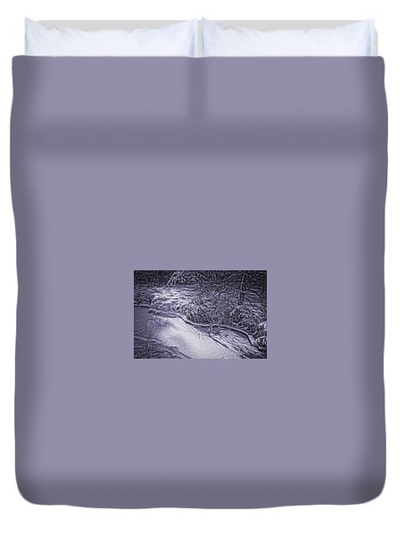 Silver Brook In Winter Duvet Cover