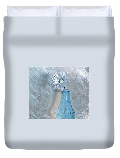 Silver Daisy Whimsical Flower Duvet Cover by Marsha Heiken