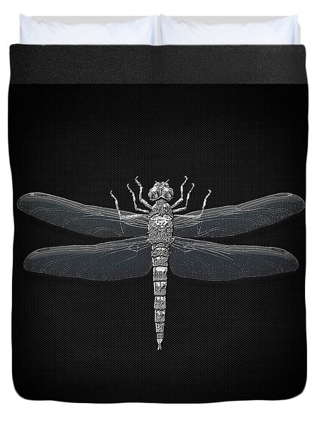 Duvet Cover featuring the digital art Silver Dragonfly On Black Canvas by Serge Averbukh