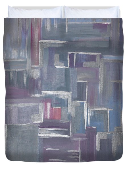 Duvet Cover featuring the painting Silver Elegance II by Stacey Zimmerman