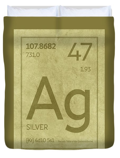 Silver Element Symbol Periodic Table Series 047 Duvet Cover
