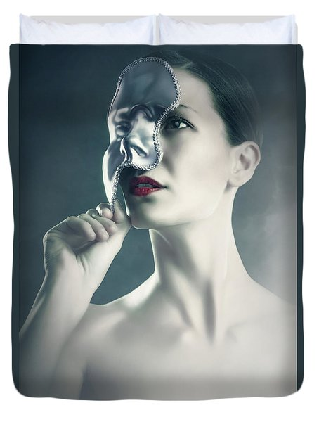 Duvet Cover featuring the photograph Silver Face by Dimitar Hristov