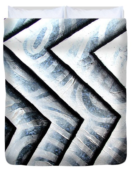 Silver Glass Waves Study 1  Duvet Cover by Luke Galutia