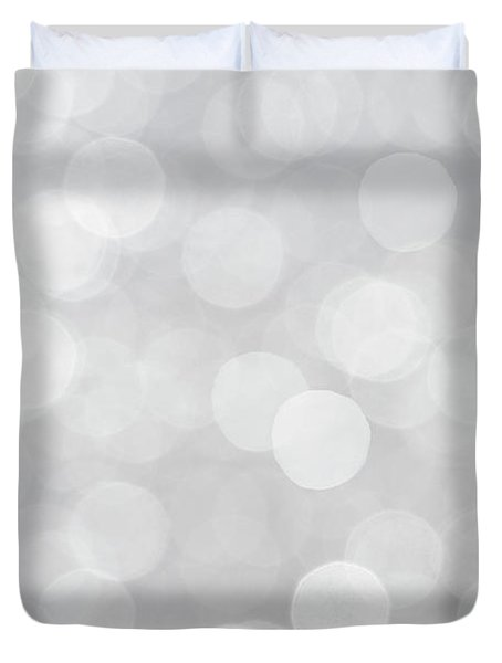 Silver Grey Bokeh Abstract Duvet Cover by Peggy Collins
