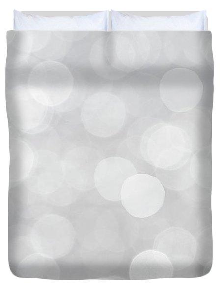 Silver Grey Bokeh Abstract Duvet Cover