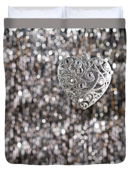 Duvet Cover featuring the photograph Silver Heart by Ulrich Schade