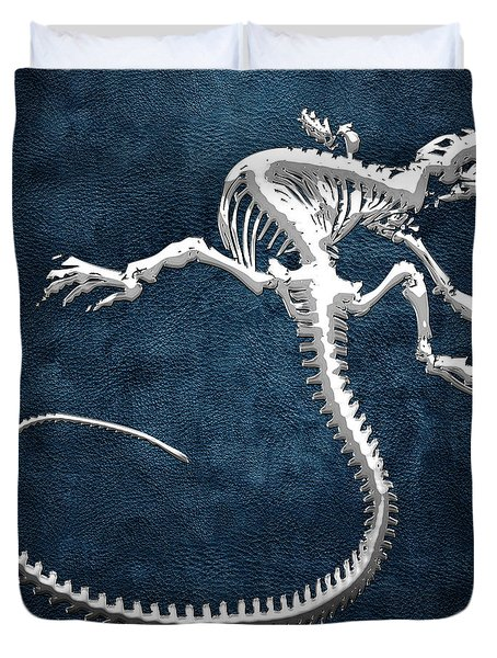 Silver Iguana Skeleton On Blue Silver Iguana Skeleton On Blue  Duvet Cover