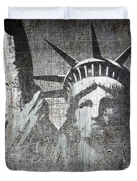 Silver Lady Liberty Duvet Cover