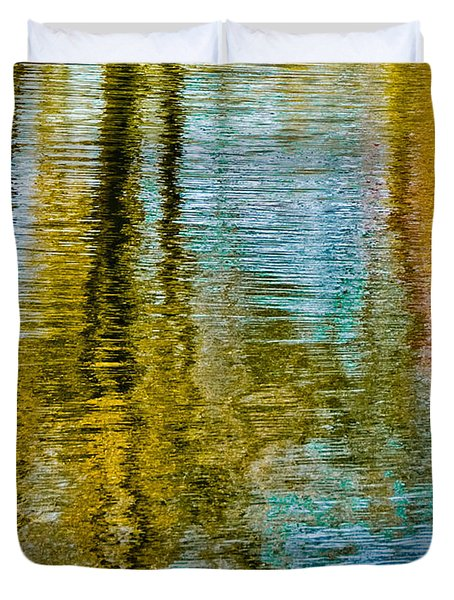 Silver Lake Autum Tree Reflections Duvet Cover