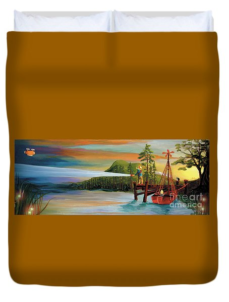 Duvet Cover featuring the painting Silver Lake by Donna Hall