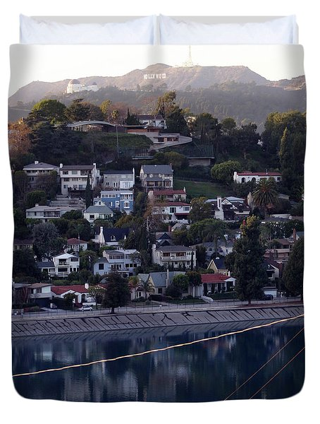 Silver Lake Reservoir And Hollywood Hills Duvet Cover