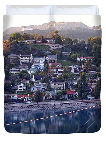 Silver Lake Reservoir With Griffith Observatory And Hollywood Sign Duvet Cover