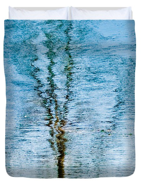 Silver Lake Tree Reflection Duvet Cover