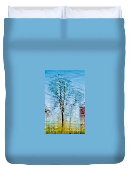 Silver Lake Tree Reflection Duvet Cover