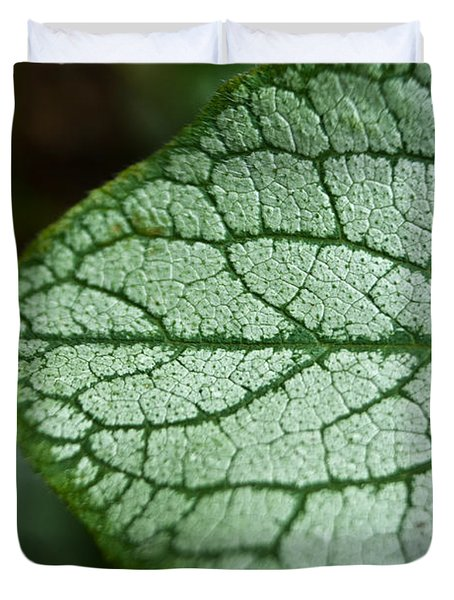 Silver Leaf Pattern Duvet Cover