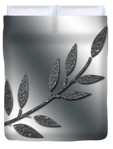 Silver Leaves Abstract Duvet Cover