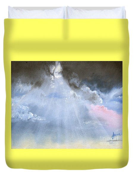 Silver Lining Behind The Dark Clouds Shining Duvet Cover by Jane Autry