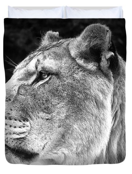 Silver Lioness  Duvet Cover