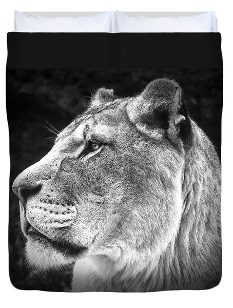 Duvet Cover featuring the photograph Silver Lioness - Squareformat by Chris Boulton
