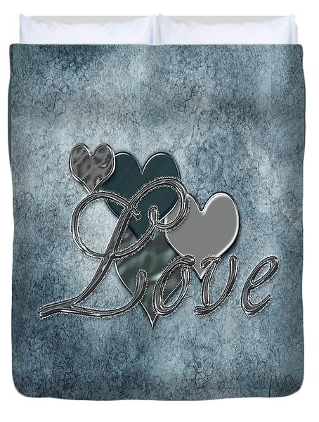 Silver Love Duvet Cover