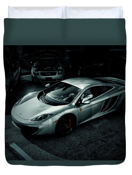 Duvet Cover featuring the photograph Silver Mclaren by Joel Witmeyer