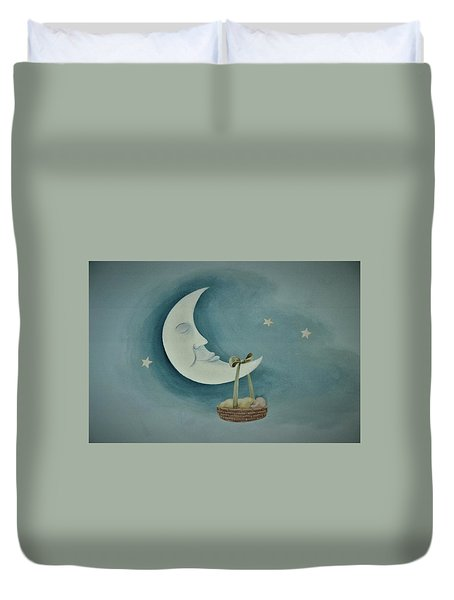 Silver Moon With Picnic Basket Duvet Cover