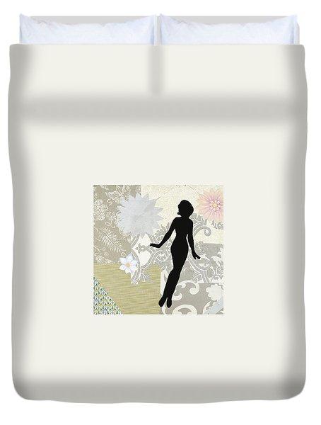 Silver Paper Doll Duvet Cover