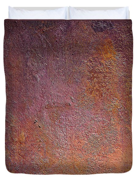 Duvet Cover featuring the mixed media Silver Plum by Michael Rock