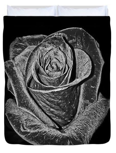 Silver Rose Duvet Cover