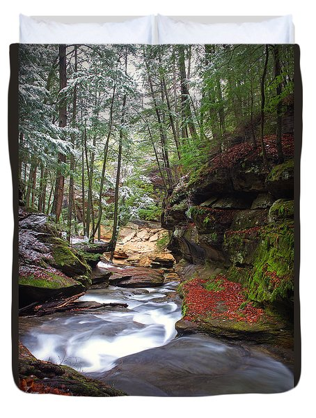 Duvet Cover featuring the photograph Silver Singing River by Jaki Miller