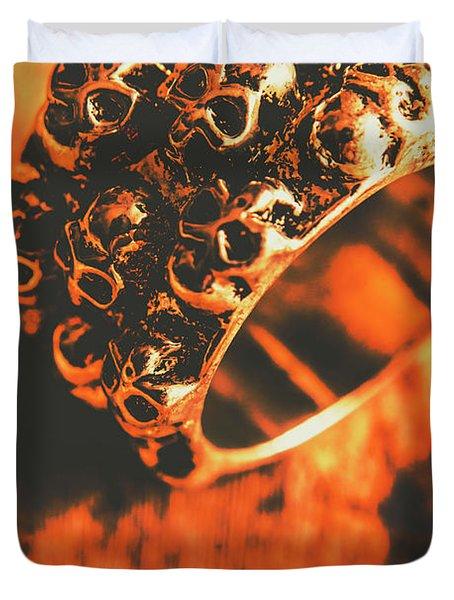 Silver Skulls Pirate Ring Duvet Cover