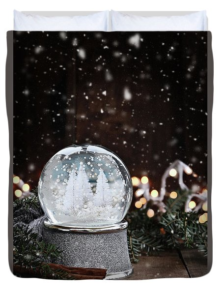 Duvet Cover featuring the photograph Silver Snow Globe by Stephanie Frey