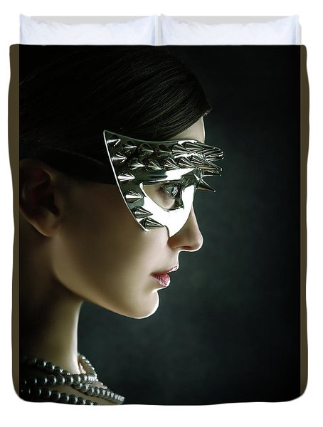 Duvet Cover featuring the photograph Silver Spike Beauty Mask by Dimitar Hristov
