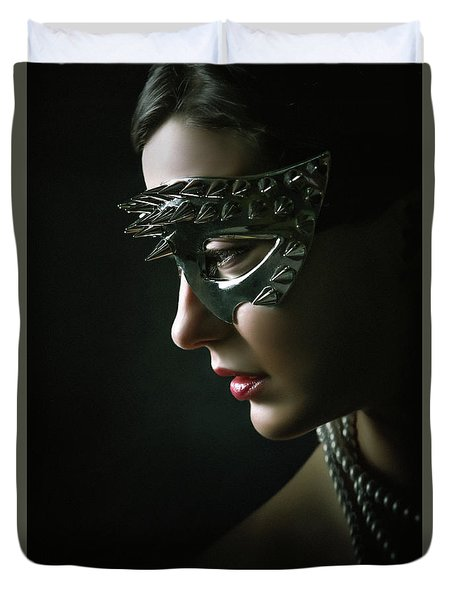 Duvet Cover featuring the photograph Silver Spike Eye Mask by Dimitar Hristov