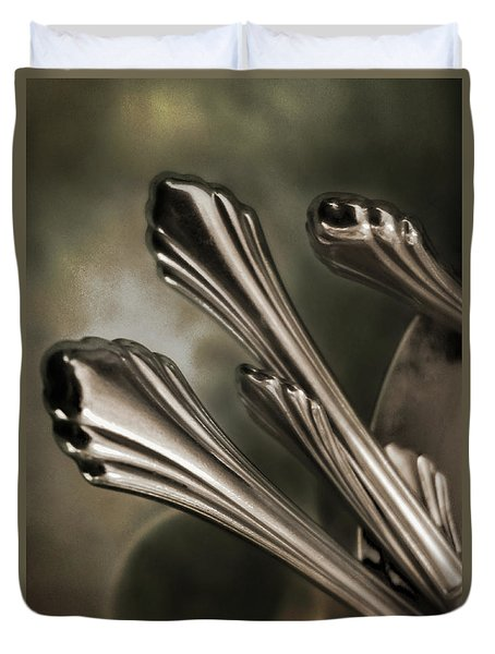 Silver Sprouts Duvet Cover