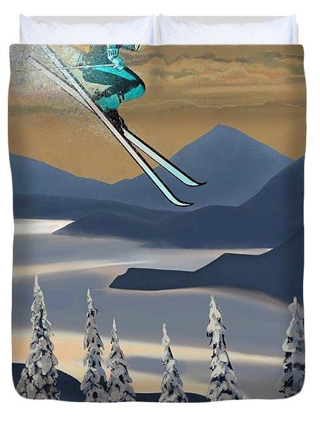 Silver Star Ski Poster Duvet Cover