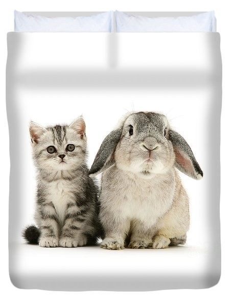 Silver Tabby And Rabby Duvet Cover