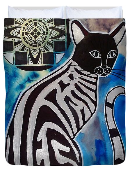 Silver Tabby With Mandala - Cat Art By Dora Hathazi Mendes Duvet Cover
