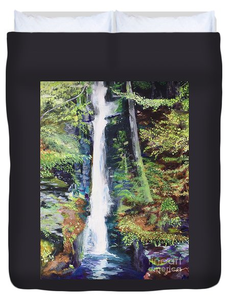 Duvet Cover featuring the painting Silver Thread Falls by Mary K Conaboy