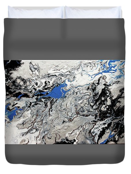 Duvet Cover featuring the painting Silver Veins by Michelle Joseph-Long