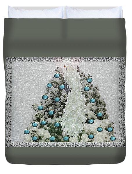 Silver Winter Bird Duvet Cover