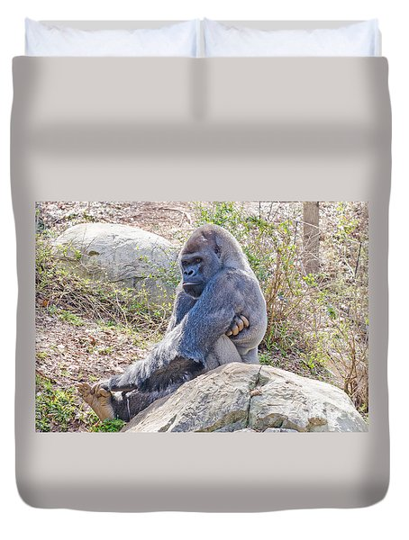 Silverback Gorilla  Duvet Cover by Donna Brown