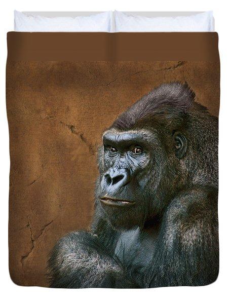 Silverback Stare - Gorilla Duvet Cover