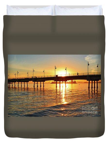 Sily Sunset At The Pier Duvet Cover