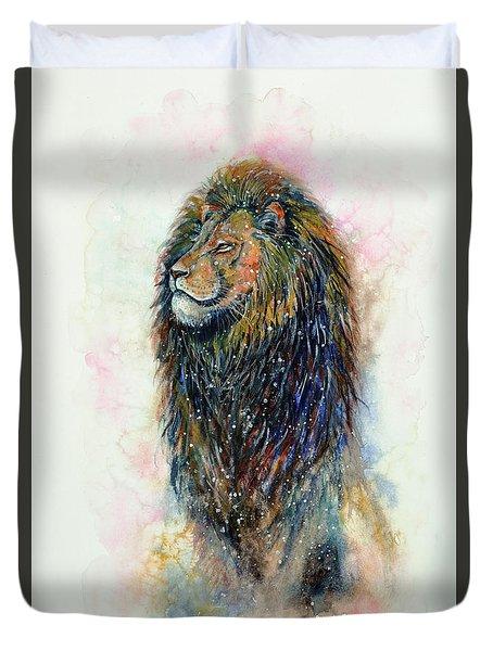 Duvet Cover featuring the painting Simba by Zaira Dzhaubaeva