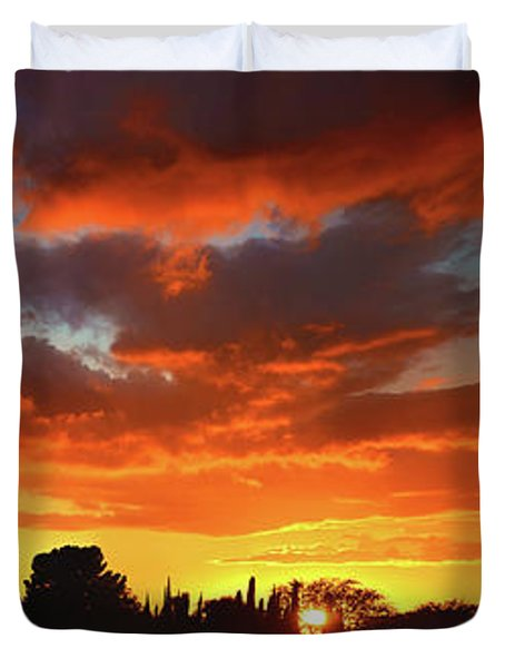 Simi Valley Sunset Panorama Duvet Cover