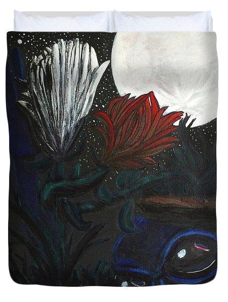 Similar Alien Appreciates Flowers By The Light Of The Full Moon. Duvet Cover