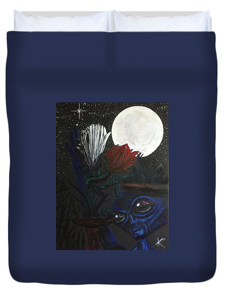 Duvet Cover featuring the painting Similar Alien Appreciates Flowers By The Light Of The Full Moon. by Similar Alien