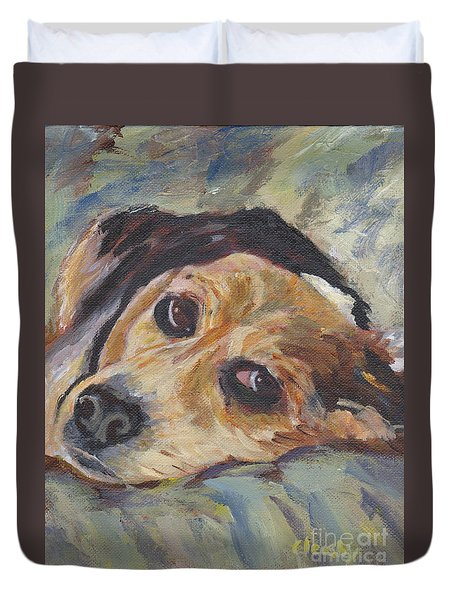 Duvet Cover featuring the painting simonClydemcflyMcCue by Patricia Cleasby
